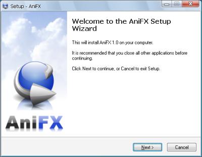 AniFX02 セットアップウィザード
