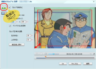 AnyVideoConverterビデオ編集 動画のクロップ