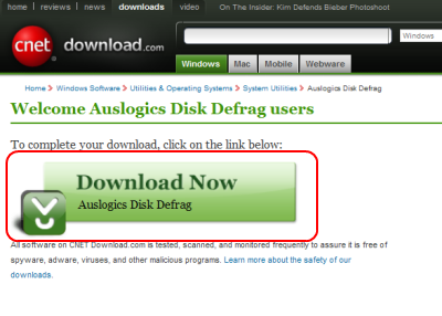 Cnet Download.com Auslogics Disk Defragダウンロードページ