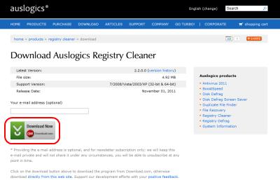 Auslogics Registry Cleanerダウンロードページ