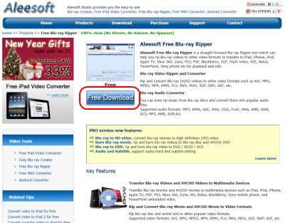 Aleesoft Free Blu-ray Ripper ダウンロードページ