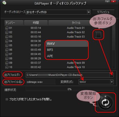 DAPlayer 音楽CDリッピング設定