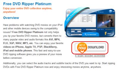 Free DVD Ripper Platinum ダウンロードページ