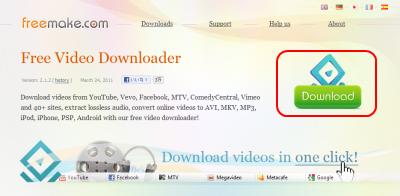 Freemake Video Downloader ダウンロードページ