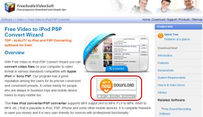 Free Video to iPod PSP Convert Wizard ダウンロードページ