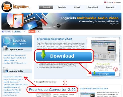 Free Video Converter ダウンロードページ