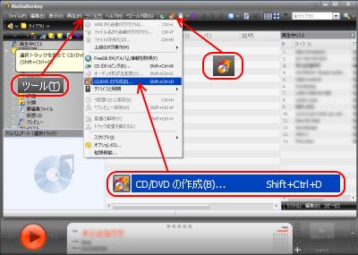 オーディオCD/DVDの作成
