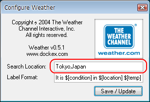 Weather Docklet地域コード入力