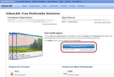 VLC media Player ダウンロードページ
