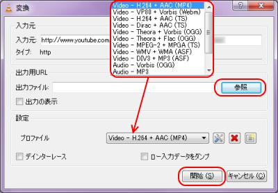 VLC media Player ネットワーク動画の変換保存