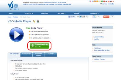 VSO Media Player ダウンロードページ
