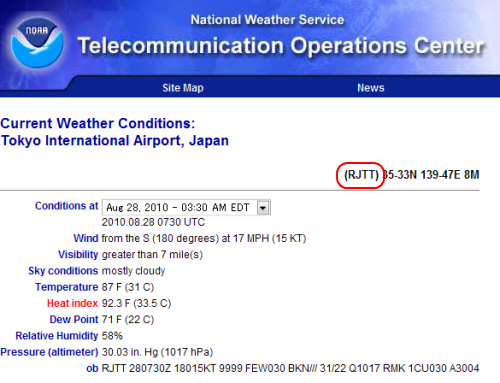 National Weather Service(Japan)Tikyo AP