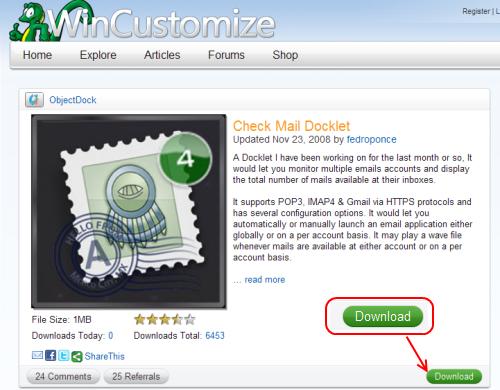 Check Mail Dockletダウンロードページ