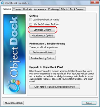 ObjectDock Language Options