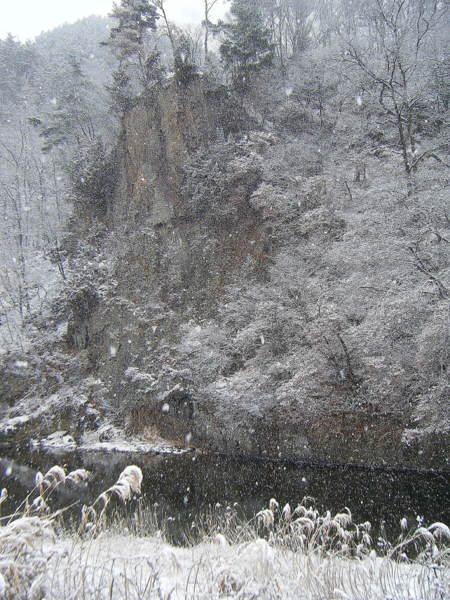 雪散歩岩壁