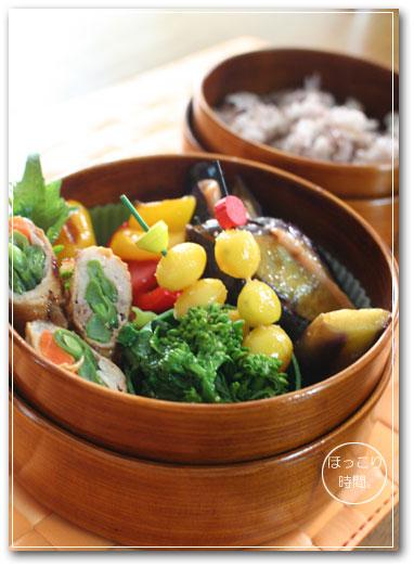 菜の花の粒マスタード和えと銀杏の塩炒め弁当