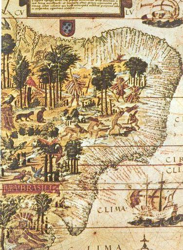 植民地時代の「ブラジル」の地図。先住民と思われる人たちに、伐採をさせているイラストが描かれている。