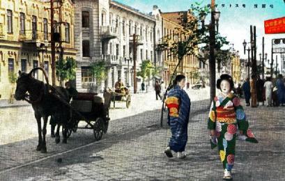 戦前の日本統治下の満洲国ハルピンの町並み