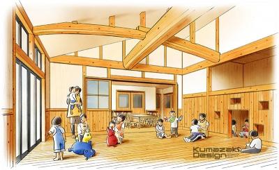 託児所 保育施設 内観パース インナーパース 鳥瞰パース 完成予想図 手書きパース 手描きパース フォトショップ着色 photpshop