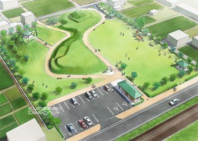 公園 広場 駐車場 鳥瞰パース 完成予想図 手書きパース 手描きパース フォトショップ着色 photpshop