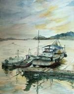 夕凪の漁港ひかり